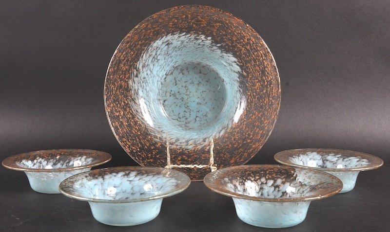 A SET OF FIVE CZECH ART GLASS SPECKLED BOWLS. Largest 9