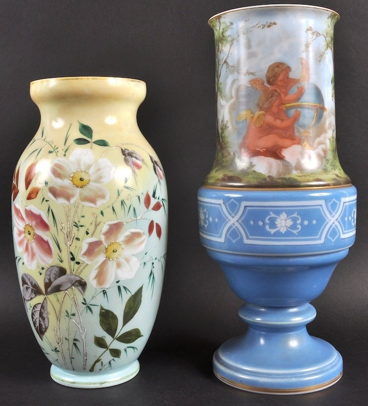 A 19TH CENTURY FRENCH OPALINE GLASS VASE painted with