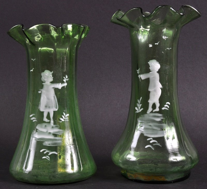 A PAIR OF MARY GREGORY STYLE POSY VASES. 7ins high.