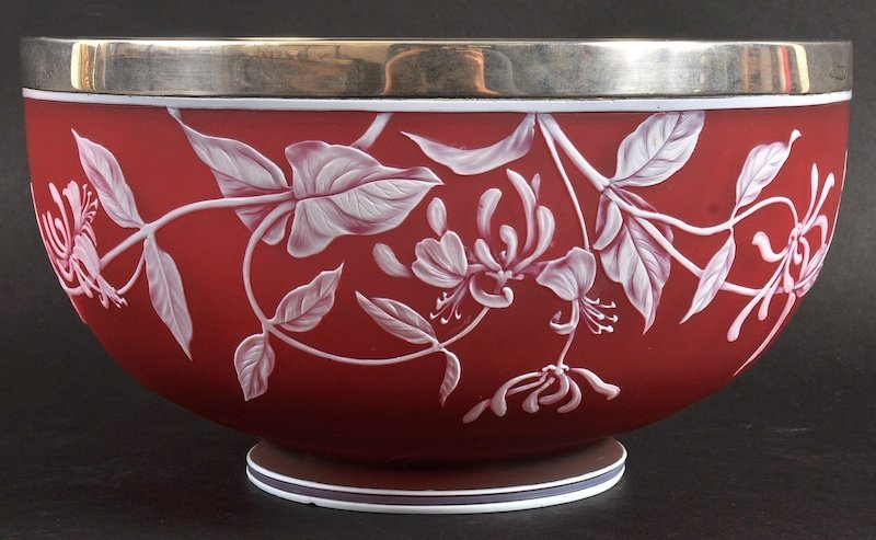 A LOVELY WEBB AND SONS CAMEO GLASS BOWL enamelled with