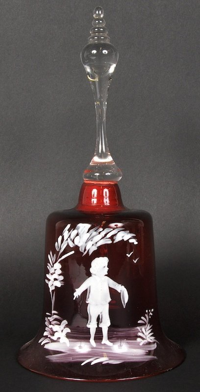 A MARY GREGORY TYPE CRANBERRY BELL painted with a young