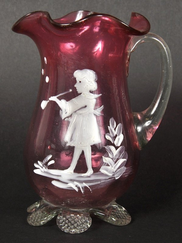 A MARY GREGORY TYPE CREAM JUG painted with a young girl