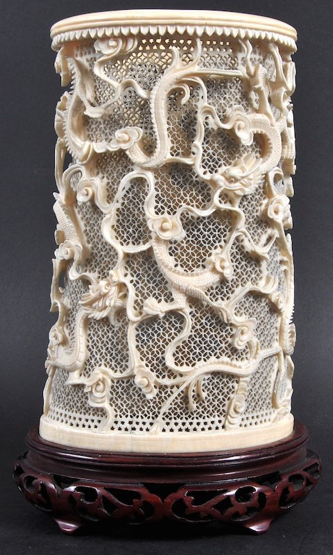 A LATE 19TH CENTURY CHINESE CANTON IVORY PIERCED VASE c