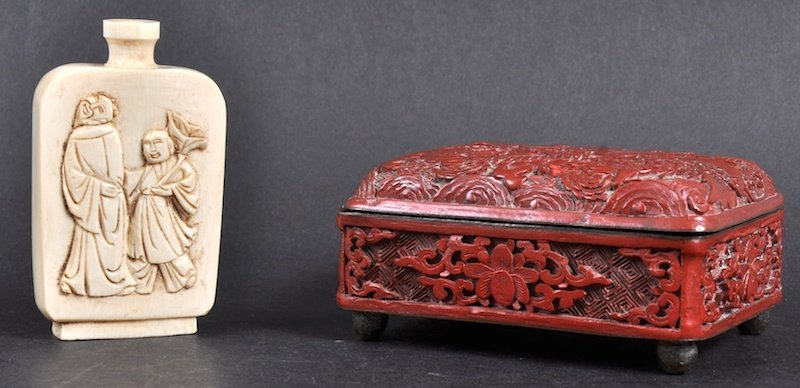 A 19TH CENTURY CHINESE CINNABAR LACQUER BOX AND COVER t
