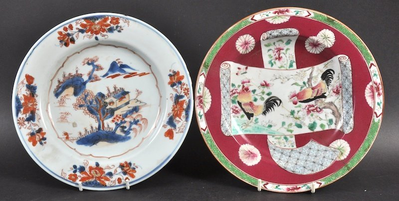 AN 18TH CENTURY CHINESE EXPORT CIRCULAR PLATE painted w