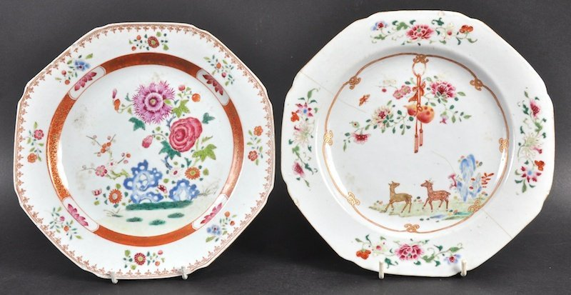 AN 18TH CENTURY CHINESE EXPORT OCTAGONAL PLATE painted