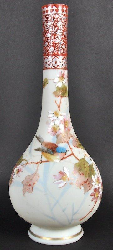 A LATE 19TH CENTURY ENAMELLED OPALINE GLASS VASE decora