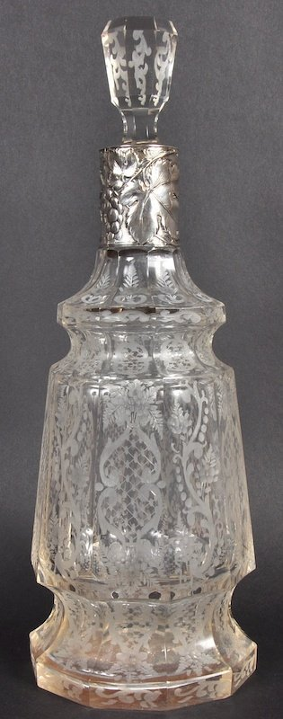 A FINE 19TH CENTURY ENGRAVED SILVER MOUNTED CUT GLASS D