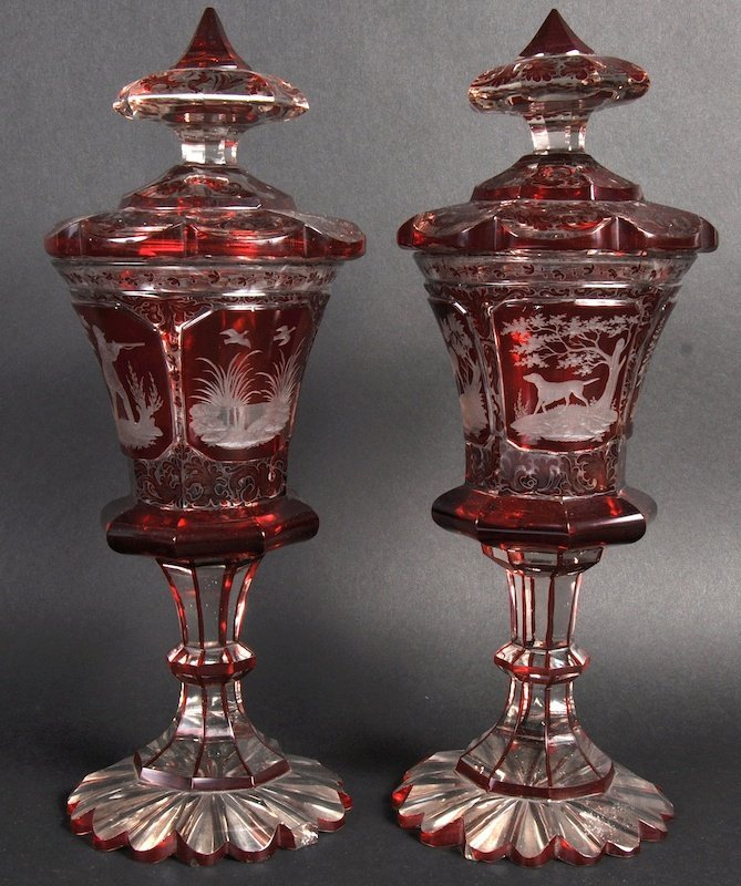 A FINE PAIR OF BOHEMIAN HUNTING GOBLETS AND COVERS, ea