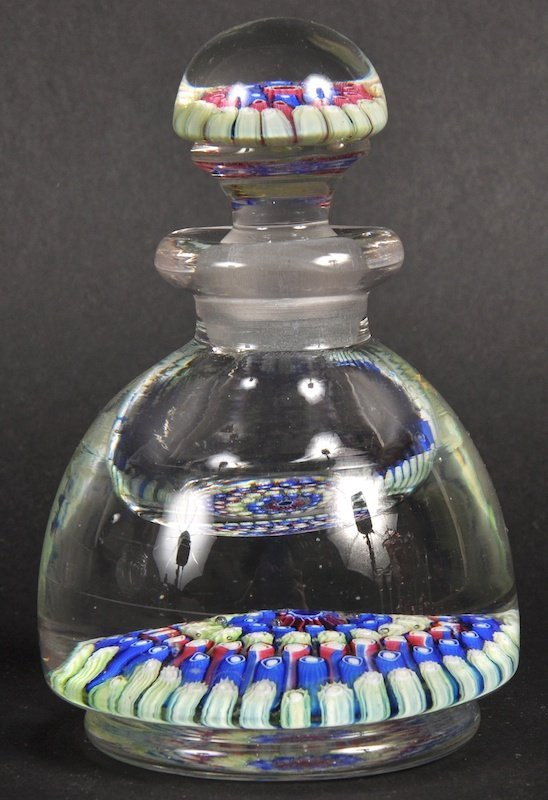 A FRENCH MILLEFIORI SCENT BOTTLE AND STOPPER.
