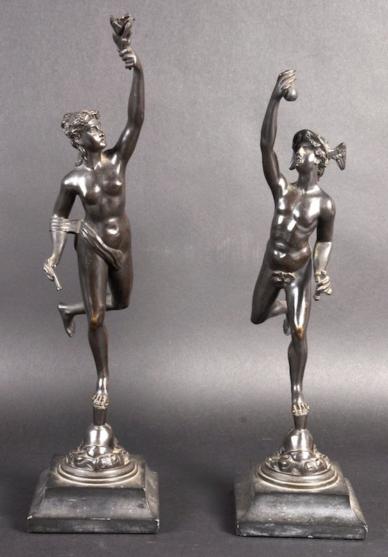 A GOOD PAIR OF BRONZE MERCURY AND CERES STANDING FIGURE