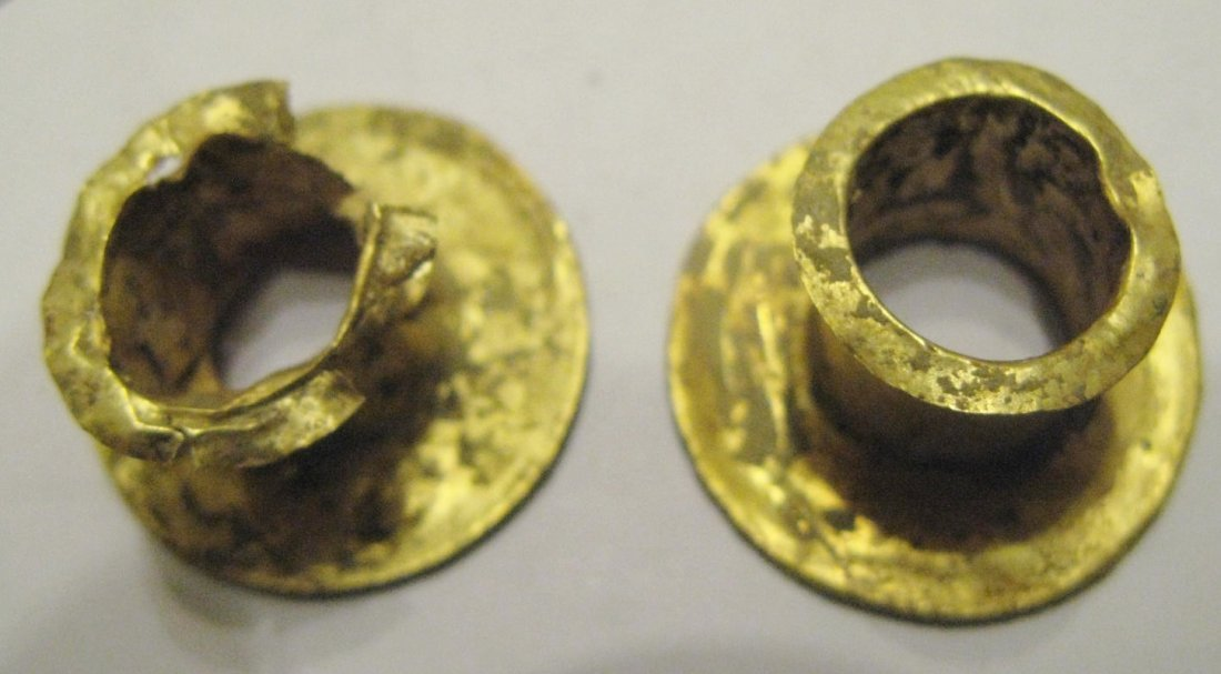 Byzantine Empire gold hair reel decorations, a pair of - 3