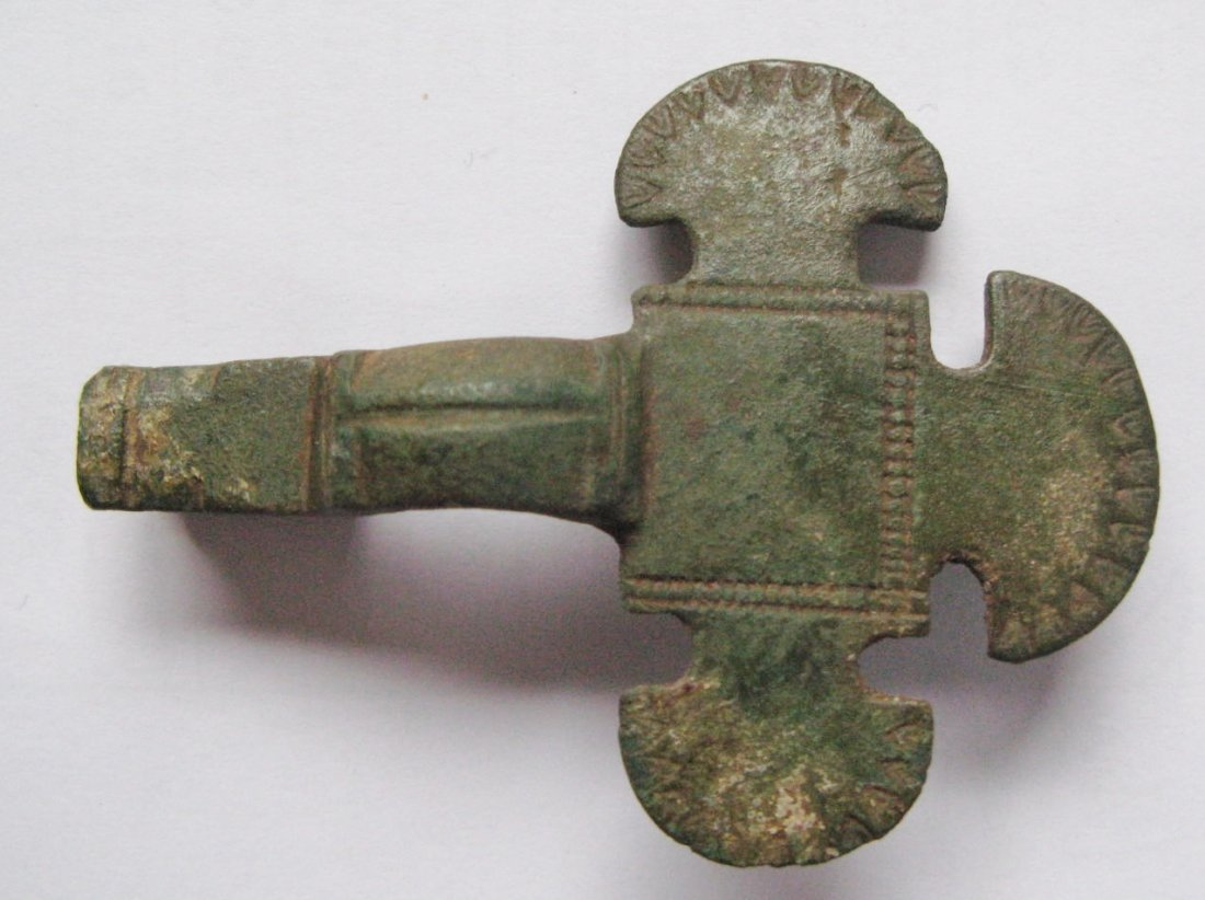 "Anglo-Saxon cruxiform brooch, bronze, 6th century, 4"" l"
