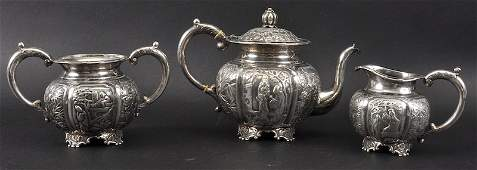 A FINE LATE 19TH CENTURY CHINESE SILVER EXPORT THREE P