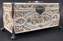 A FINE 18TH CENTURY CHINESE CANTON IVORY CASKET Late Q