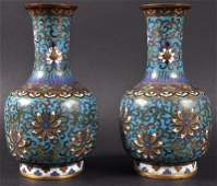 A FINE PAIR OF CHINESE QING DYNASTY CLOISONNE ENAMEL V
