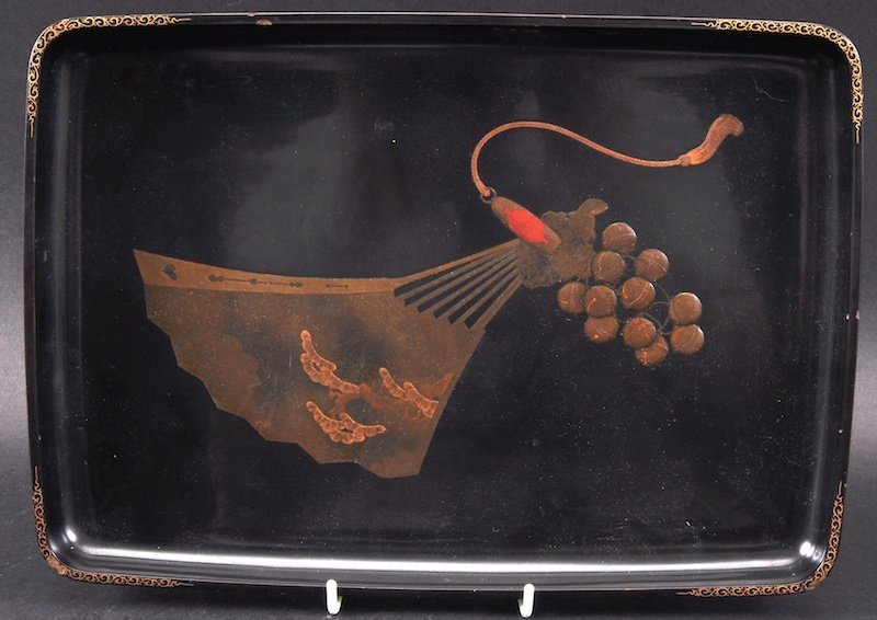 AN EARLY 20TH CENTURY CHINESE BLACK LACQUER RECTANGULAR