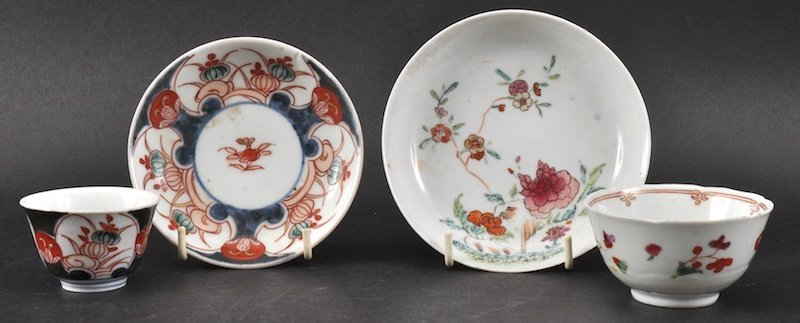 AN 18TH CENTURY CHINESE EXPORT TEABOWL AND SAUCER ename