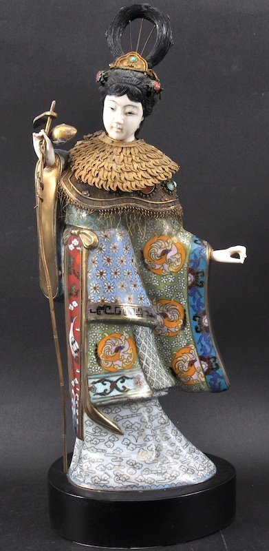 AN EARLY 20TH CENTURY CHINESE IVORY AND CLOISONNE ENAME