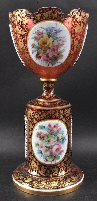 A SUPERB 19TH CENTURY BOHEMIAN RUBY COMPORT, painted wi