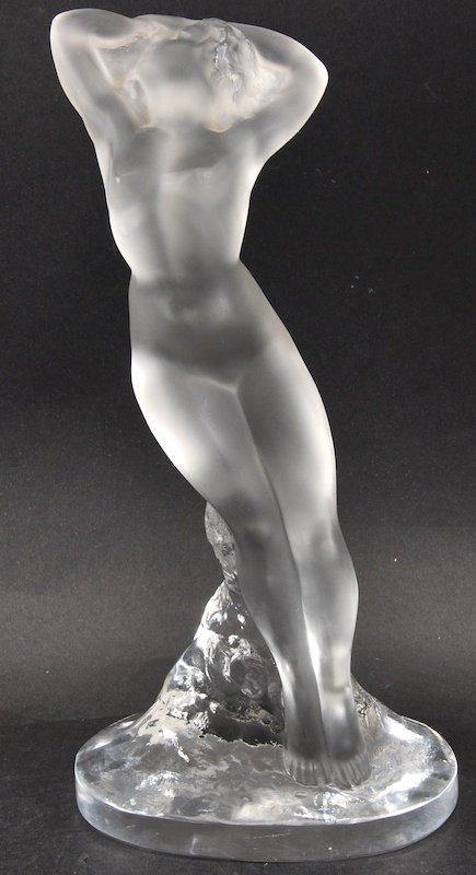 A Lalique Frosted Glass Standing Nude.  Etched Lalique
