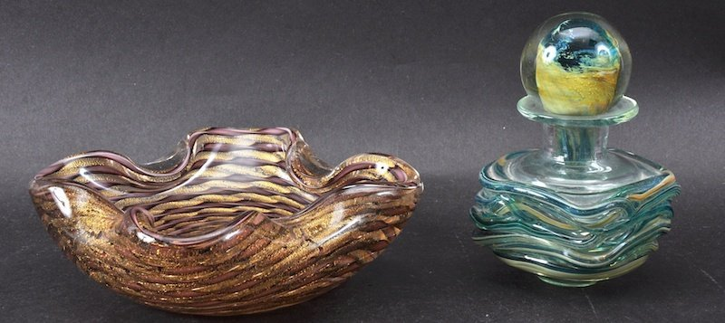A MONART GLASS INK OR SCENT BOTTLE and ASHTRAY (2).