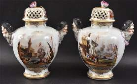 A GOOD PAIR OF DRESDEN AUGUSTAS REX VASES AND COVERS wi