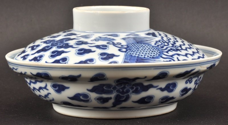 A LOVELY CHINESE BLUE AND WHITE BOWL AND COVER Guangxu,