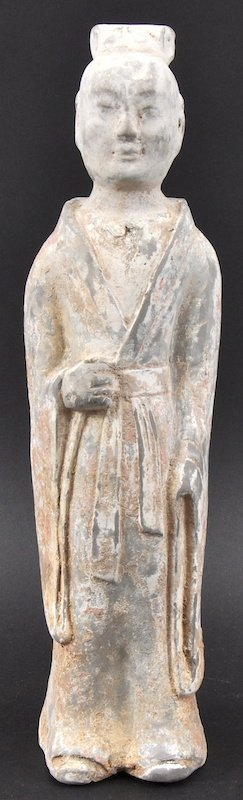 A CHINESE SUI DYNASTY POTTERY FIGURE OF A COURT