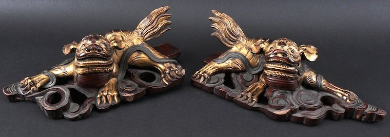 A PAIR OF 19TH CENTURY CHINESE GILT PAINTED TEMPLE