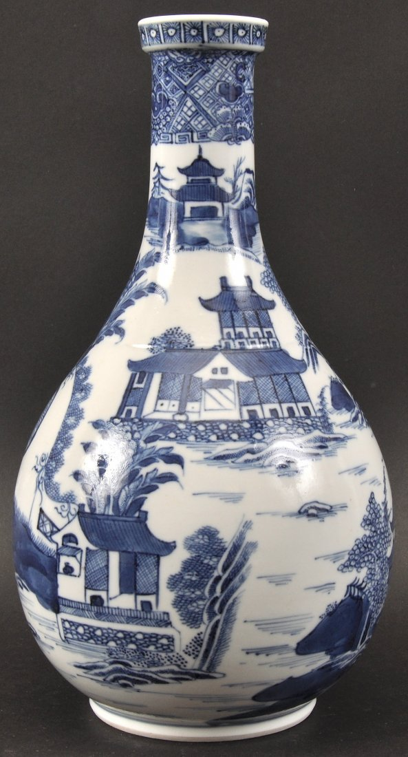 AN 18TH CENTURY CHINESE EXPORT BLUE AND WHITE WATER