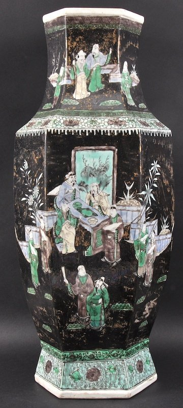 A 19TH CENTURY CHINESE FAMILLE NOIRE HEXAGONAL VASE