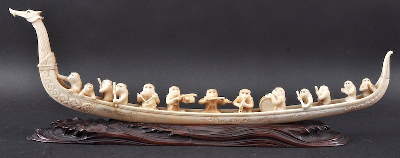 A 19TH CENTURY JAPANESE MEIJI PERIOD IVORY BOAT
