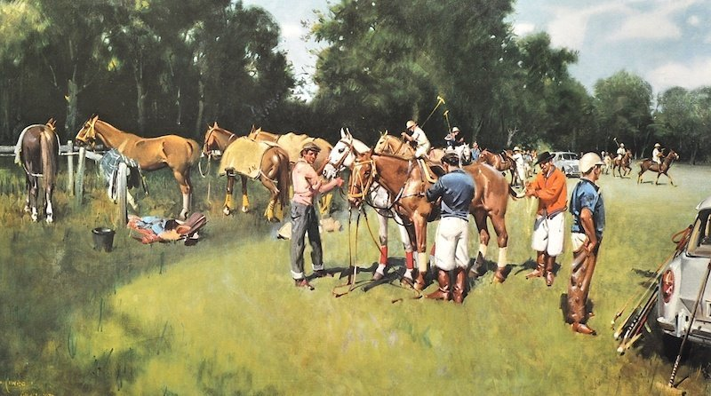 """Terence Cuneo (1907-1996) British. """"Ponies in the Lines"""