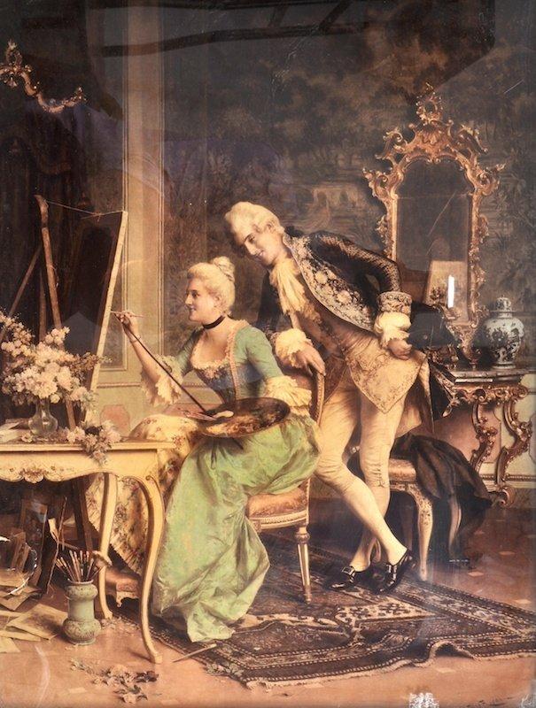 Arturo Ricci (1854-1919) Italian. Interior with a young