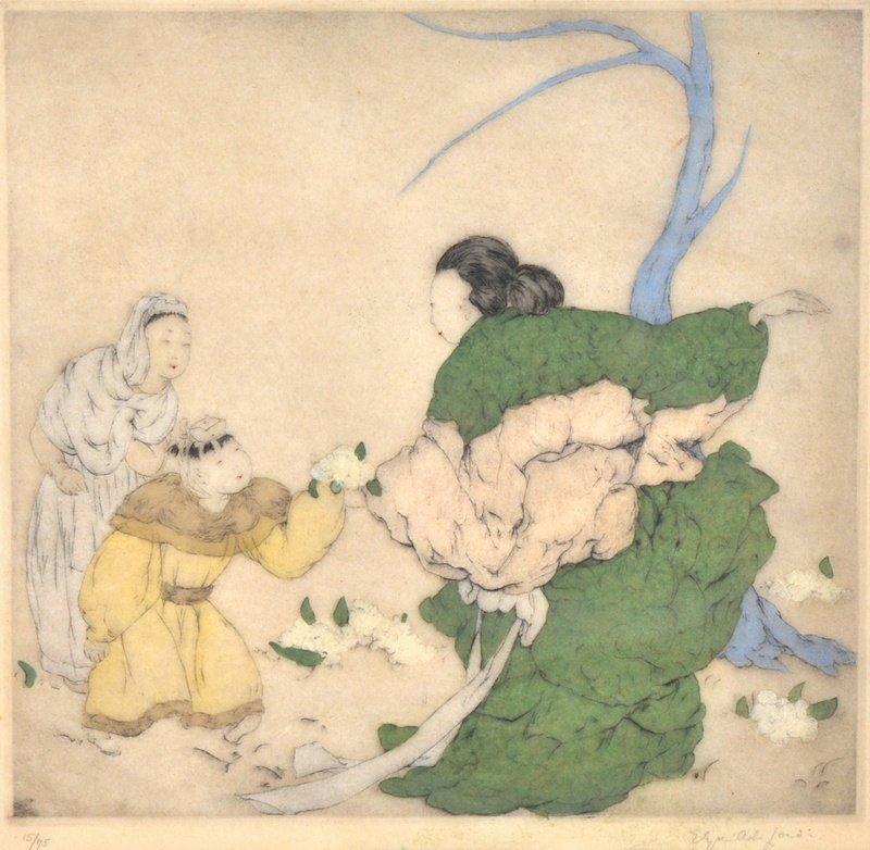 Elyse Ashe Lord (1900-1971) British.  Chinese Figures,