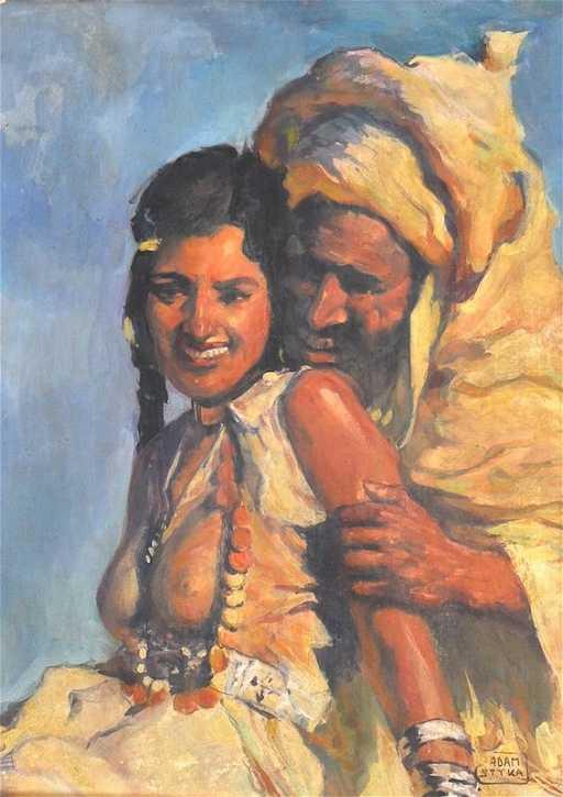 Adam Styka 1890 1959 Polish An Arab Courting Couple