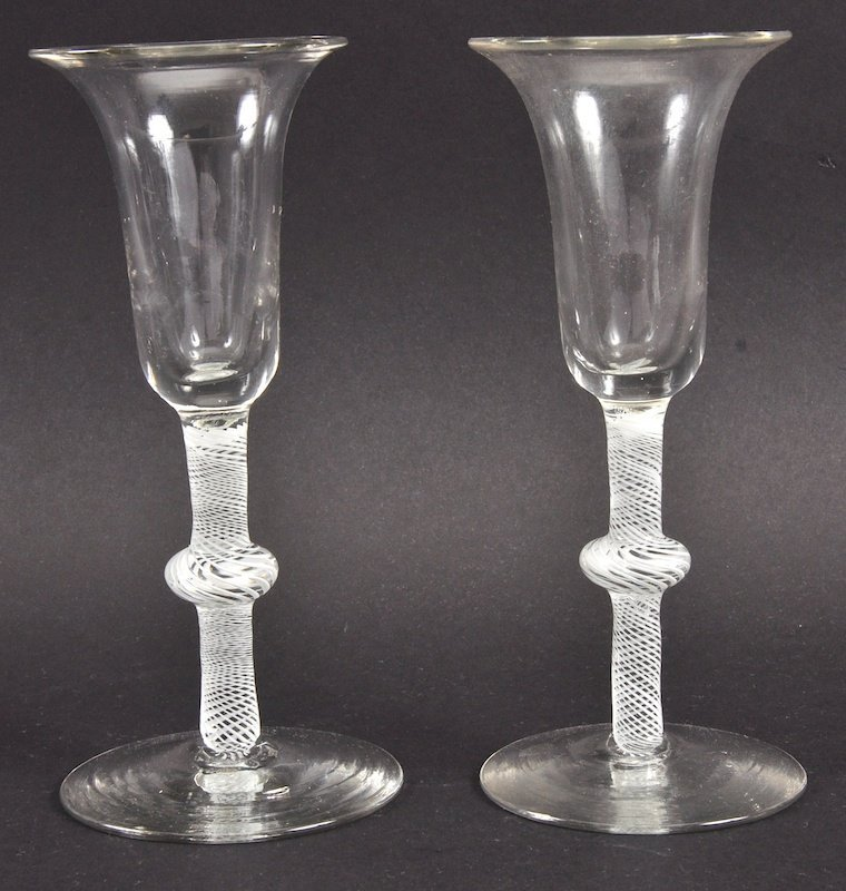 A PAIR OF GEORGIAN WINE GLASSES with inverted bell