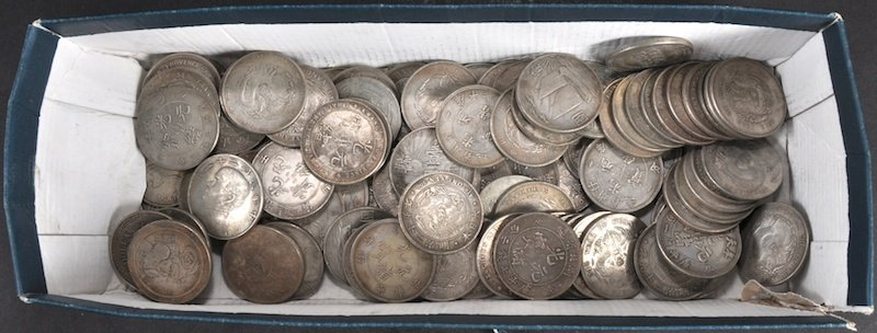 A BOX OF CHINESE COINS. (QTY)