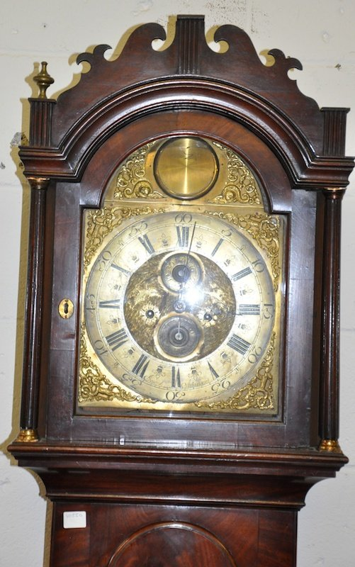 A GEORGE III MAHOGANY LONGCASE CLOCK with eight day