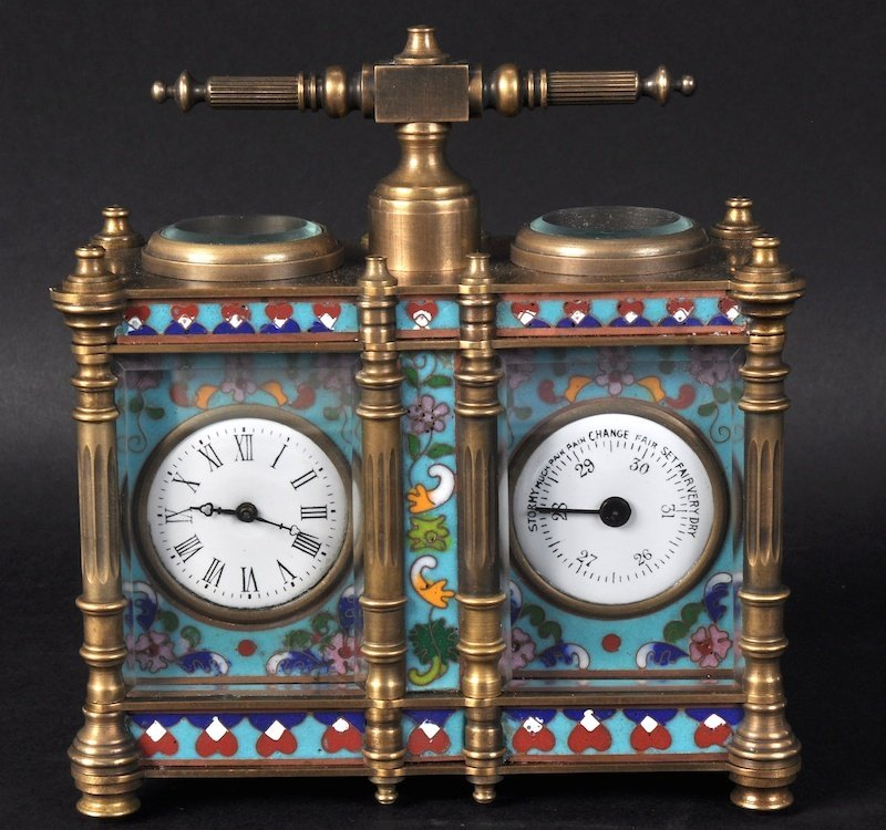 A SMALL FRENCH BRASS AND CHAMPLEVE ENAMEL CLOCK AND