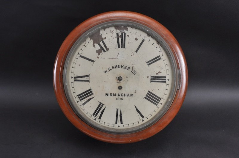 A VICTORIAN MAHOGANY CASED WALL CLOCK by  W. S. SHUKER,