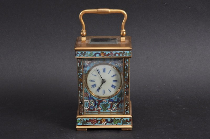 A GOOD 19TH CENTURY FRENCH BRASS AND CHAMPLEVE ENAMEL