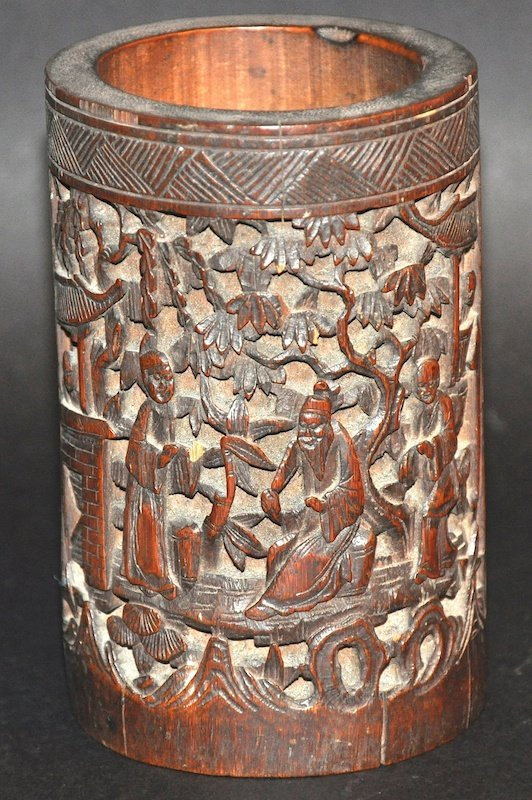 A CHINESEQING DYNASTY CARVED BAMBOO BRUSH POT carved