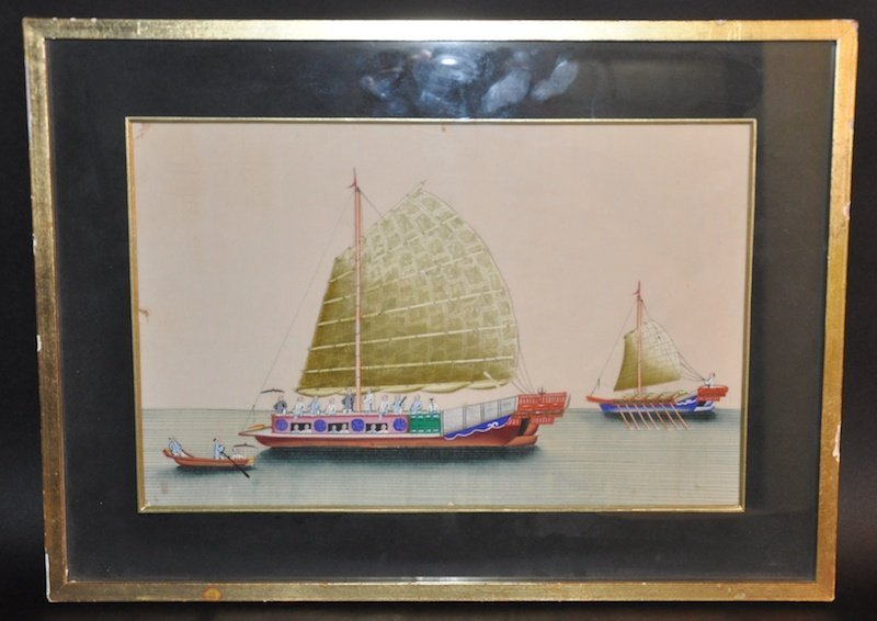 A 19TH CENTURY CHINESE EXPORT FRAMED RICE PAPER PANEL
