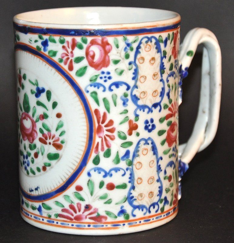 AN 18TH CENTURY CHINESE EXPORT TANKARD enamelled with