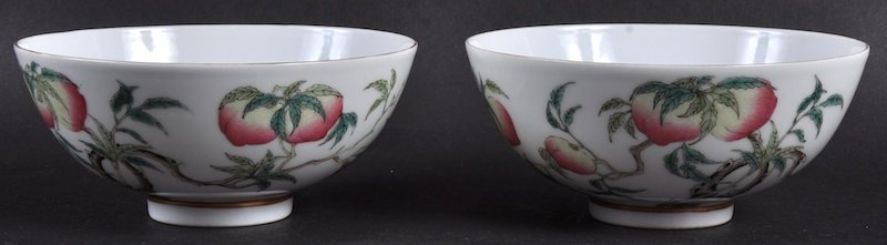 A GOOD PAIR OF CHINESE PORCELAIN ENAMELLED BOWLS