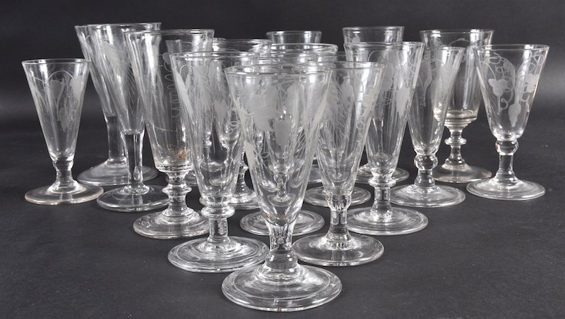 EIGHTEEN VARIOUS WINE GLASSES engraved with hops and fr