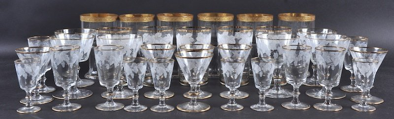 A SELECTION OF THIRTY FIVE GILDED AND ENAMELLED GLASSES