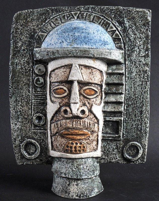 A GOOD TROIKA MASK of Aztec design.  Monogrammed A.I. T